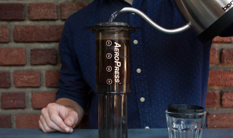 Pouring into the AeroPress
